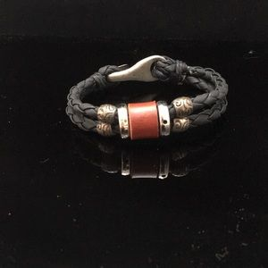 Tribal Leather and Silver Bead Bracelet